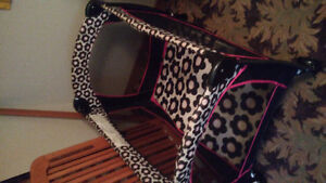 Black and Pink Floral Fold up play pen