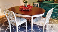 Refinished and Painted Mid Century Dining Table and Chairs