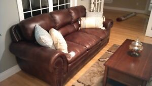 Brown Faux Leather Couch - Brand New Condition