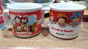 Coffee or soup mugs. Campbell soup characters.