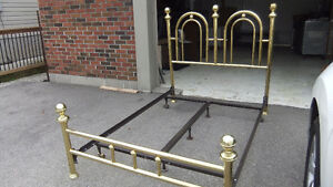 double brass bed frame and metal roller frame, great cond