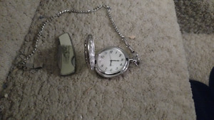 Train pocket watch with matching pocket knife