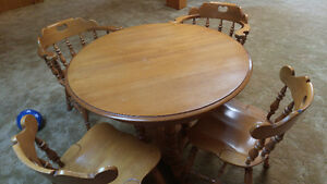 Solid wood dining table (with extension) and four chairs