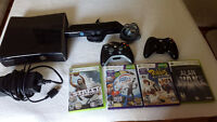 Xbox 360 + Kinect 250 GB + 2 manettes + Chargeur + 4 jeux
