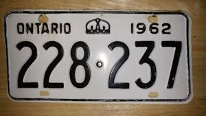 Ontario License Plate 1962