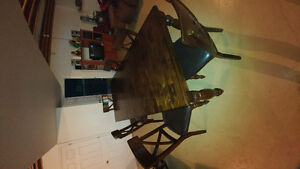 Solid wood dining table and chair set