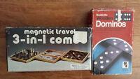 2 vintage board games - Dominoes & Hudson Bay 3-in -1 Chess set!