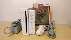 Nintendo Wii with game and accessories.