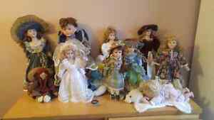 All porcelain dolls and rag doll for sale. Smurfette not include