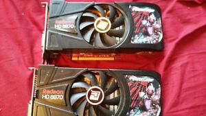 2X Powercolor Radeon 6870 1GB graphic cards