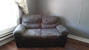 Grey/ black leather couch