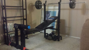 York 0189 Weight Bench with bar & 40lbs in weights