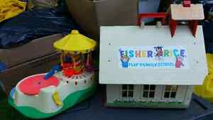 VINTAGE FISHER PRICE SCHOOL HOUSE MUSICAL PLAYGROUND CASH REGIST