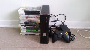 Xbox 360 250 gb wired controller + 16 games