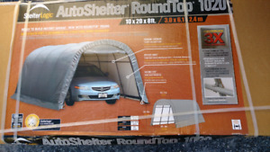 Automobile metal shelter.