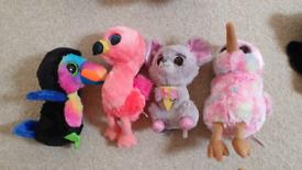 Ty Beanie Boos Toucan (Beaks) Kiwi bird, Flamingo Gilda, squeaker mous