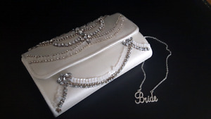Bridal Clutch and necklace - $25