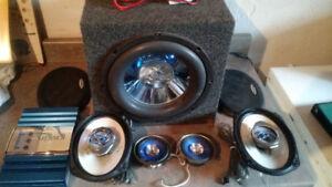 Speakers, ampli et Sub