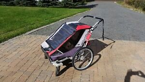 Thule Chariot Cougar 2 with bike and stroller wheels