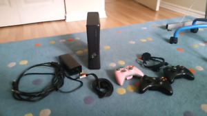 Xbox 360 with all cables and 3 controllers