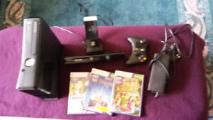 Xbox 360 Kinect with TV mount, controller, 3 games