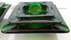 Vintage Anchor Hocking Forest Green Glass Ashtray Set