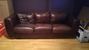 Leather couch, Reddish brown