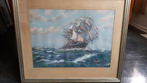 Original pastel work tall ship - Unsigned.