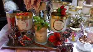 Charmed aroma candles with rings.