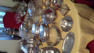 SILVER TRAYS, COFFEE POTS, PUNCH BOWLS, SAUCE BOATS, ICE BOWL, W