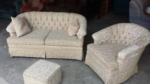 love seat and chair foot stool