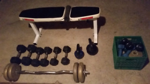 Muscle mag bench, kettle bells $250 OBO