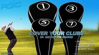 Driver Club Heads - NEW DRIVER GOLF CLUB HEAD COVERS BLACK HEADCOVER FULL COMPLETE 1 3 5 7 WOOD SET