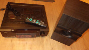 RCA Stereo Receiver with Remote Control and Passive Subwoofer