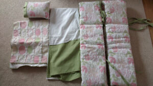 Crib Bedding Set - Pink/Green/White