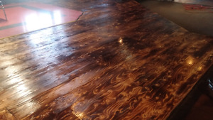 Burnt rustic flooring and woodworking