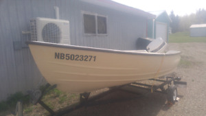 12ft fiberglass boat with 20hp motor and trailer