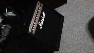 Marshall electric guitar amp with pedals