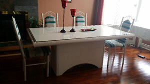 Off-White/Cream Dining Table and 6 Chairs - Leons London Ontario image 2