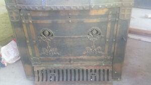 Antique fireplace insert cast iron