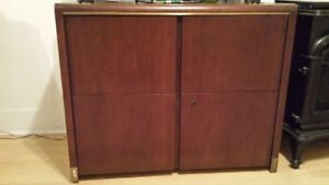 Used Solid Oak Double Drawer TV Stand / Filing Cabinet