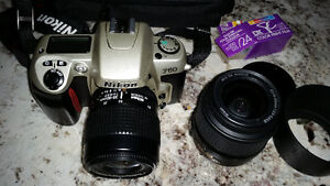 Nikon Film Camera with two lenses and film