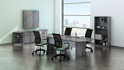 8ft Conference Table Set With Gray Steel Laminate Finish As Pictured - No Chairs