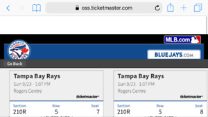 Sub sept 23 blue jays 2 tix pair 85$ 210