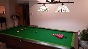 Slate Snooker/billiard table with everything. $1450
