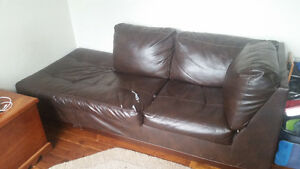 2YR OLD LEATHER COUCH - $60 OBO