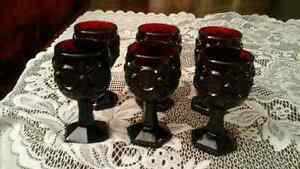 RED SHERRY GLASSES SET OF  6 - AVON, CAPE COD PATTERN