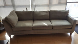Light green striped 3-seater couch $200 or best offer