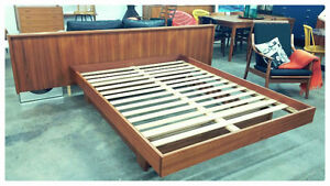 Vintage Teak Queen Floating Bed