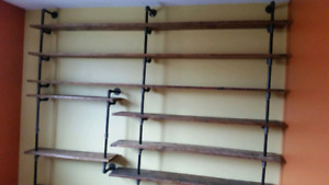 Barnwood pipe  shelf